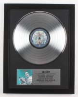 "Queen Custom Framed 15.75x19.75 Silver Plated ""News of the World"" Record Album Award Display"