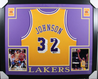 35a6f94ca5e Magic Johnson Signed Los Angeles Lakers 35x43 Custom Framed Jersey (JSA COA)