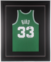 Larry Bird Signed Boston Celtics 35x43 Custom Framed Jersey (Radtke COA)
