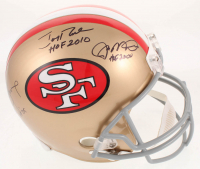 Joe Montana, Jerry Rice, & Steve Young Signed San Francisco 49ers Full-Size Helmet with (3) Inscriptions (Radtke COA & Rice Hologram)