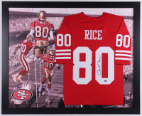 Jerry Rice Signed San Fransisco 49ers 35.5x43.5 Custom Framed Jersey Display (Tristar Hologram)