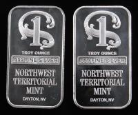 Lot of (2) 1 Troy Oz .999 Fine Silver Northwest territorial Mint Bullion Bars