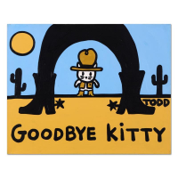 """Todd Goldman Signed """"Goodbye Kitty"""" 30x24 Original Acrylic Painting on Gallery Wrapped Canvas at PristineAuction.com"""