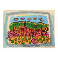 "Wayne Ensrud Signed ""Puligny-Montrachet, Burgundy"" 11x14 Mixed Media Original Artwork at PristineAuction.com"