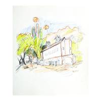 "Wayne Ensrud Signed ""Niebaum-Coppola Winery, Napa Valley"" 17x14 Pencil Original Artwork at PristineAuction.com"