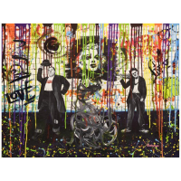 "Nastya Rovenskaya Signed ""Chaplin and Hardy"" 40x30 Original Mixed Media on Canvas at PristineAuction.com"