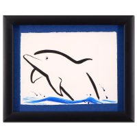 "Wyland Signed ""Dolphin"" 20x16 Custom Framed Original Sumi Ink and Watercolor Painting at PristineAuction.com"