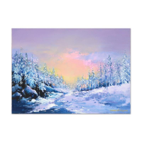 "Thomas Leung Signed ""Ice World"" 20x14 Original Oil Painting on Canvas Board at PristineAuction.com"