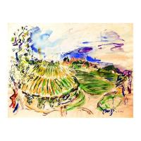 "Wayne Ensrud Signed ""View of Chateau Haut-Brion Vineyards"" 20x27 Mixed Media Original Artwork at PristineAuction.com"