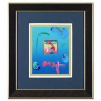"Peter Max Signed ""Umbrella Man"" 19x22 Custom Framed One-Of-A-Kind Acrylic Mixed Media"