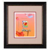 "Peter Max Signed ""Heart"" 19x22 Custom Framed One-Of-A-Kind Acrylic Mixed Media at PristineAuction.com"