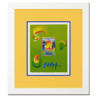 "Peter Max Signed ""Beyond Borders"" 18x21 Custom Framed One-Of-A-Kind Acrylic Mixed Media at PristineAuction.com"