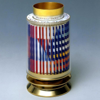 "Yaacov Agam Signed ""Kiddush Cup"" Limited Edition 24k Gold Plated Sterling Silver with Agamograph in Lucite"