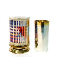 """Yaacov Agam Signed """"Kiddush Cup"""" Limited Edition 24k Gold Plated Sterling Silver with Agamograph in Lucite at PristineAuction.com"""