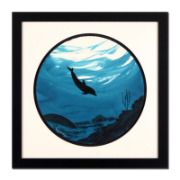 "Wyland  Signed ""Dolphin"" 28x28 Custom Framed Original Watercolor Painting"