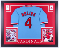 Yadier Molina Signed St. Louis Cardinals 35x43 Custom Framed Jersey (Beckett Hologram)