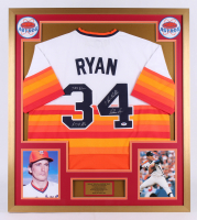 "Nolan Ryan Signed Houston Astros 32x36 Custom Framed Jersey Inscribed ""324 Wins"", ""5,714 K's"" & ""7 No-Hitters"" (PSA COA)"
