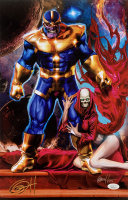 "Greg Horn Signed Marvel ""Thanos & Death"" 11x17 Lithograph (JSA COA)"
