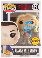 """Millie Bobby Brown Signed Limited Chase Edition """"Stranger Things"""" Eleven with Eggos #421 Funko Pop! Vinyl Figure Inscribed """"011"""" (JSA COA)"""
