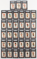 Complete Set of (33) SGC Graded 1968 Topps Game Baseball Cards with #2 Mickey Mantle (SGC 5.5), #4 Hank Aaron (SGC 6.5), #6 Roberto Clemente (SGC 7), #9 Brooks Robinson (SGC 5)