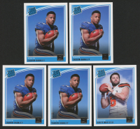 Lot of (5) 2018 Donruss Football Cards with (3)  #306 Saquon Barkley RR RC & (1) #303 Baker Mayfield RR RC