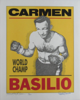 Carmen Basilio Signed LE 16x20 Lithograph (JSA COA)