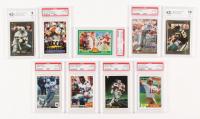Lot of (9) Graded Football Cards with Emmitt Smith, Joe Montana, Peyton Manning, Jerry Rice, Junior Seau