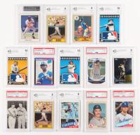 Lot of (14) Graded Baseball Cards with Joe DiMaggio, Bob Feller, Mickey Mantle, Aaron Judge, Ken Griffey Jr., Bo Jackson