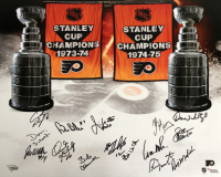 1973-75 Flyers 16x20 Photo Team-Signed by (15) with Andre Dupont, Bernie Parent, Bill Barber, Bill Clement, Billy Kelly, Bobby Clarke (Fanatics Hologram) at PristineAuction.com