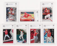 Lot of (7) Graded BCCG 10 Mike Trout Baseball Cards with 2018 Stadium Club Special Forces #SFMT (BCCG 10), 2018 Bowman Platinum #49 (BCCG 10), 2018 Panini Phoenix #7 (BCCG 10)