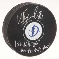 "Nikita Kucherov Signed Tampa Bay Lightning Logo Hockey Puck Inscribed ""1st Goal on 1st NHL Shot"" (Your Sports Memorabilia Store Hologram & JSA COA)"