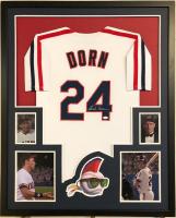 "Corbin Bernsen Signed Major League ""Dorn"" 35x43 Custom Framed Jersey (JSA COA)"