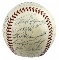 1955 New York Yankees OAL Baseball Team-Signed by (26) with Mickey Mantle, Yogi Berra, Whitey Ford, Elston Howard, Billy Martin, Frank Crosetti (PSA LOA)