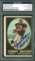 """Jim Brown Signed 1958 Topps #62 RC Inscribed """"HOF 71"""" (PSA Encapsulated)"""