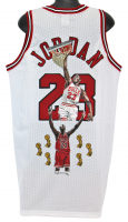 Michael Jordan Signed Chicago Bulls Jersey with Hand Painted Portrait (UDA COA)