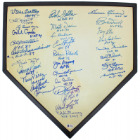 MLB Hall of Famers Home Plate Signed by (31) with Willie Mays, Yogi Berra, Steve Carlton, Phil Rizzuto, Andrew Dawson, Harmon Killebrew, Rollie Fingers with Multiple HOF Inscriptions (Beckett LOA)