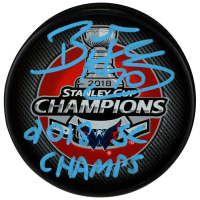 """Braden Holtby Signed 2018 Stanley Cup Champions Logo Hockey Puck Inscribed """"2018 SC Champs"""" (Fanatics Hologram)"""