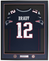 Tom Brady Signed New England Patriots 33x42 Custom Framed Jersey (TriStar Hologram)