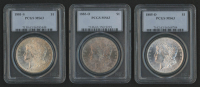 Lot of (3) PCGS Graded (MS63) Morgan Silver Dollars with 1881-S, 1883-O, & 1885-O