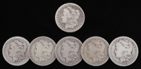 Lot of (6) Morgan Silver Dollars with 1890-CC
