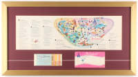 Disneyland 16x29 Custom Framed Vintage 1961 Map Display with Vintage Ticket Booklet & Envelope