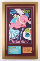 "Disneyland Fantasyland's ""Dumbo Carousel"" 17x27 Custom Framed Poster Print Display with Vintage Ticket & Envelope"