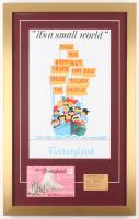 "Disneyland Fantasyland's ""It's A Small World"" 17x27 Custom Framed Poster Print Display with Vintage Ticket & Envelope"