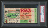 Sandy Koufax & Vin Scully Signed 1963 World Series Game 4 Game Ticket Stub (PSA Encapsulated)
