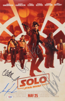"""A Star Wars Story: Solo"" 11x17 Movie Poster Cast-Signed by (5) with Emilia Clarke, Alden Ehreneich, Clint Howard, Paul Bettany (PSA LOA)"