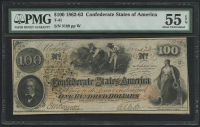 1862-63 $100 One Hundred Dollars Confederate States of America Richmond CSA Bank Note Bill (T-41) (PMG 55) (EPQ)