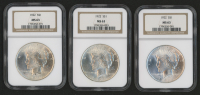 Lot of (3) 1922 Peace Silver Dollars (NGC MS63)