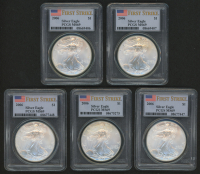 Lot of (5) 2006 American Silver Eagle $1 One Dollar Coins - First Strike, U.S. Flag Label (PCGS MS69)