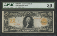 1906 $20 Twenty Dollars U.S. Gold Certificate Large Size Bank Note Bill (PMG 30) at PristineAuction.com