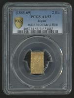 (1868-69) Japan 2 Bu Gold Coin, Meiji Era - JNDA-09-29 (PCGS Gold Shield AU53)